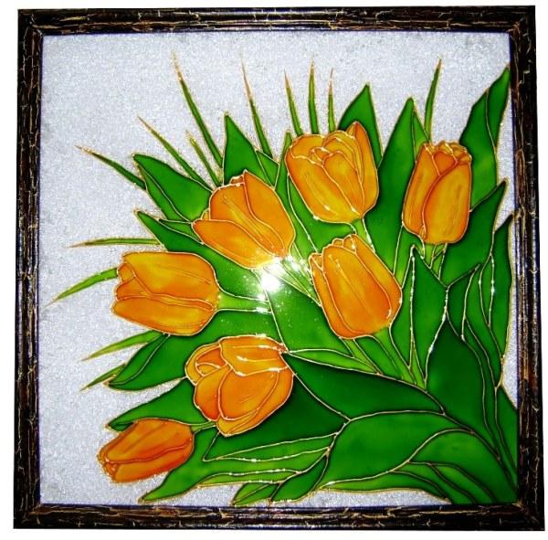Витраж на стекле, выполненный акриловыми красками