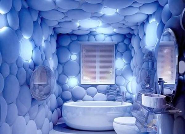 3д обои на стенах и потолке в интерьере ванной комнаты