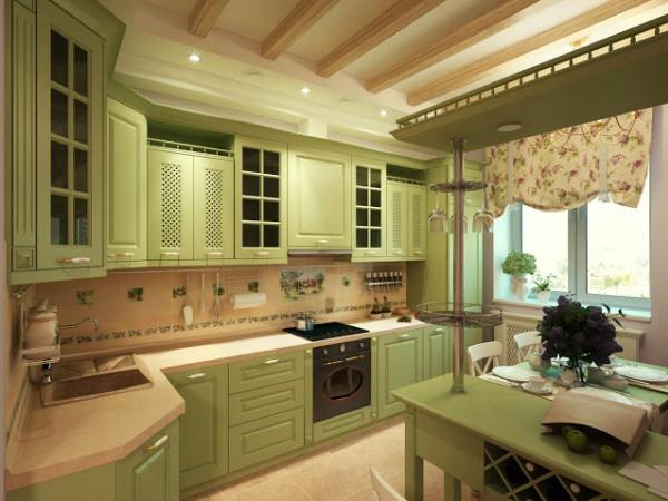 Фисташковая кухня в стиле прованс с бежевыми вставками на стенах