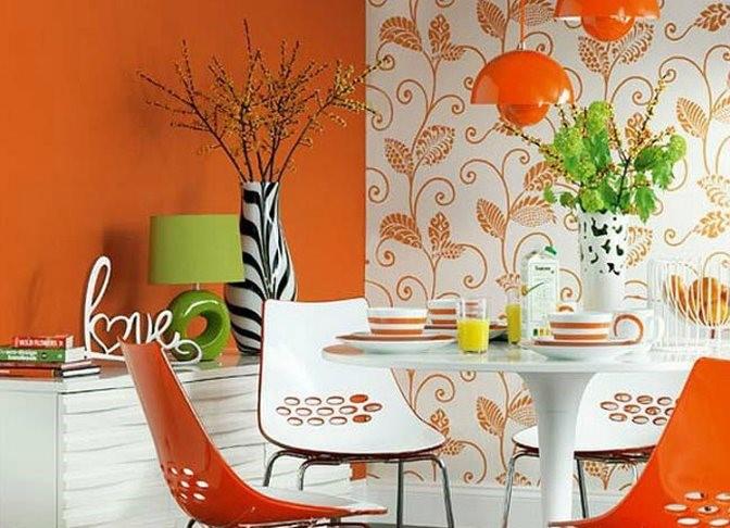 Скомбинированные однотонный оранжевый и белый с оранжевым узором