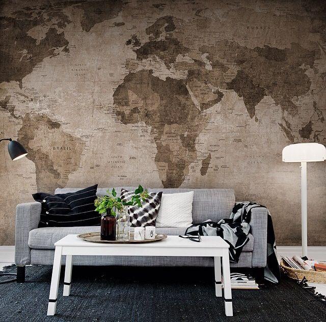 Карта мира на стене в виде фотообоев