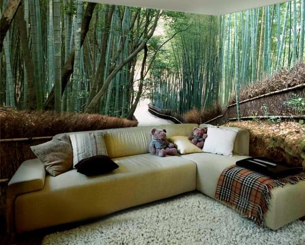 Бамбуковый лес в интерьере гостиной