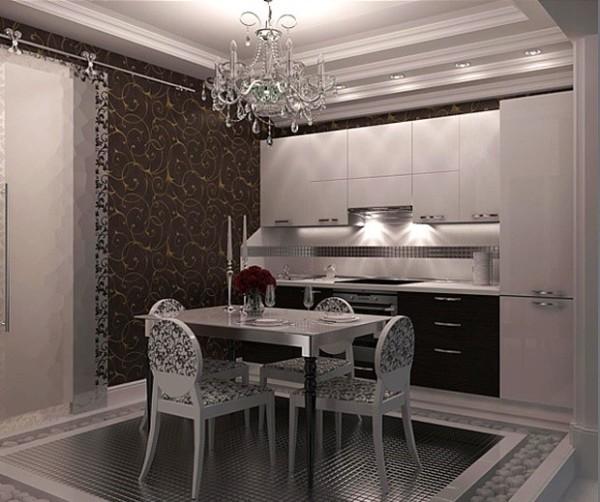 Чёрно белая кухня, коричневые обои с золотым орнаментом