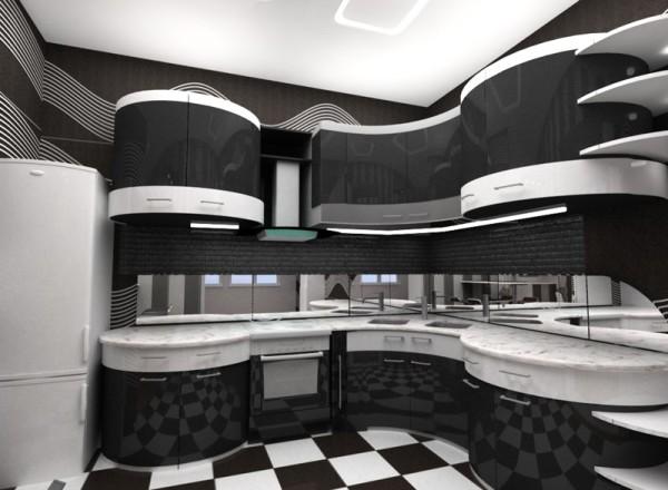 Чёрно белая кухня, основной чёрный