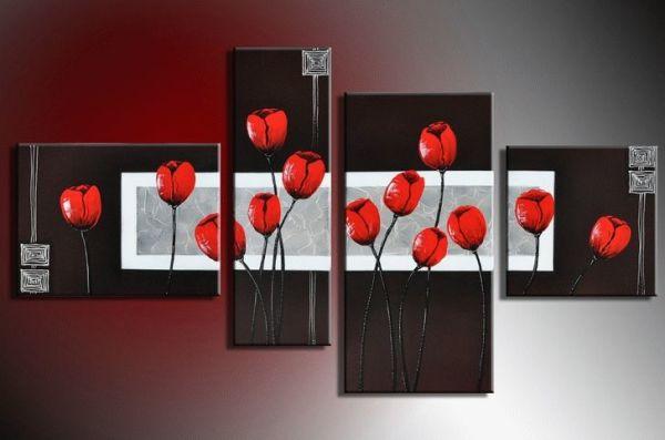 Чёрное настенное панно с красными тюльпанами – интересный элемент для спальни
