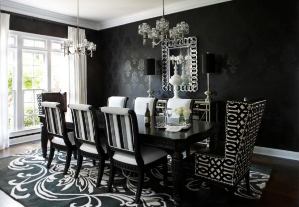 Чёрные обои с узором в столовой в готическом стиле