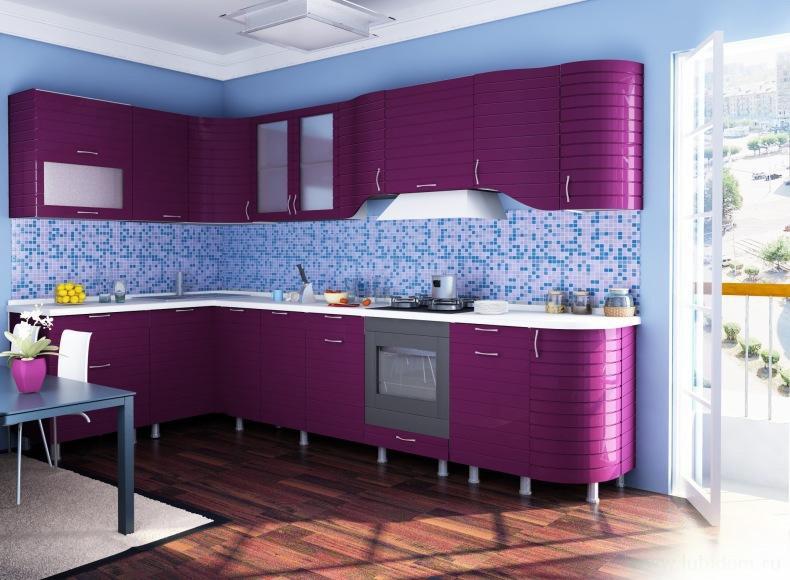 фиолетовая кухня какие обои подобрать фото