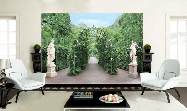 Фотообои «Летний сад» в интерьере гостиной