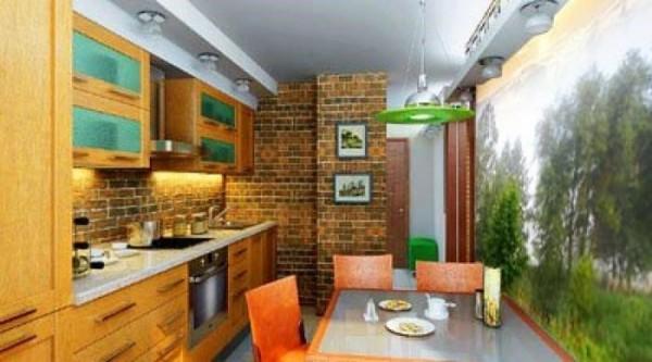 Фотообои на кухне, выделяют обеденную зону