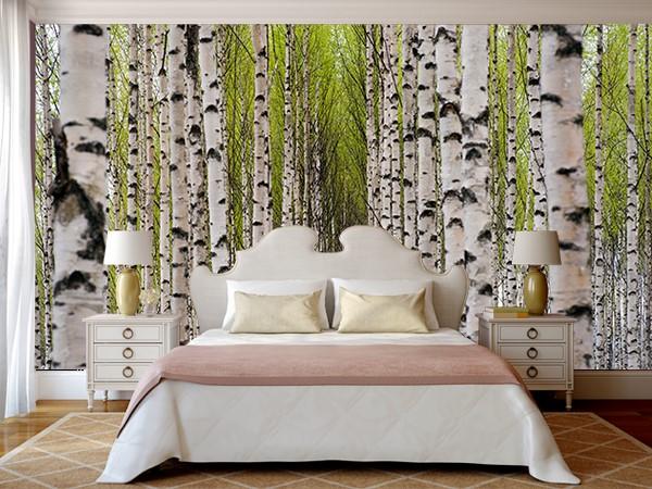 Фотообои на тему «Берёзовый лес» в интерьере спальни