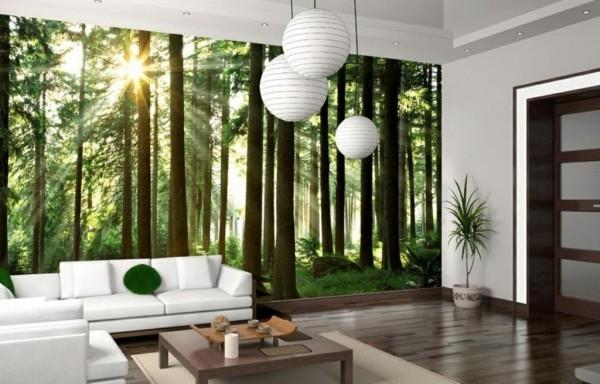 Фотообои на тему «Лес» в интерьере гостиной