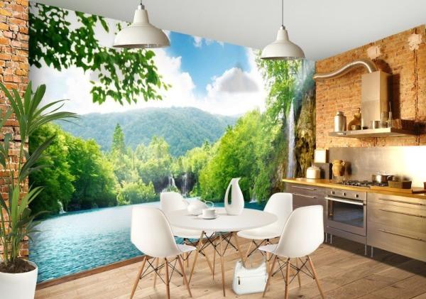 Фотообои «природа» на кухне