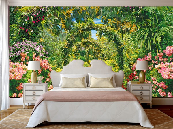 Фотообои «Сад» в интерьере спальни