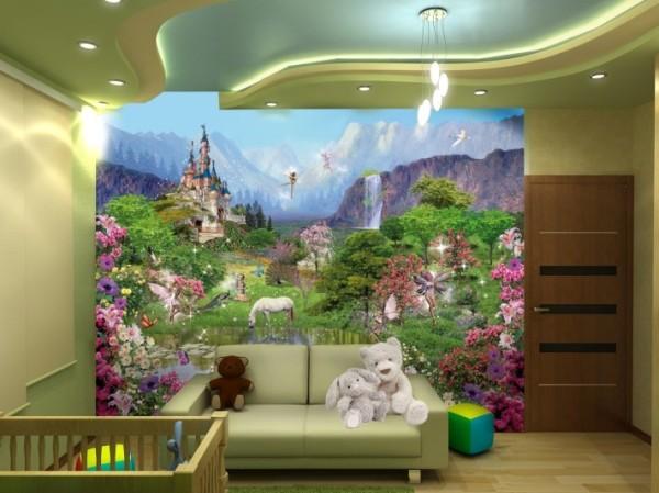 Фотообои в детской комнате лес со сказочными персонажами
