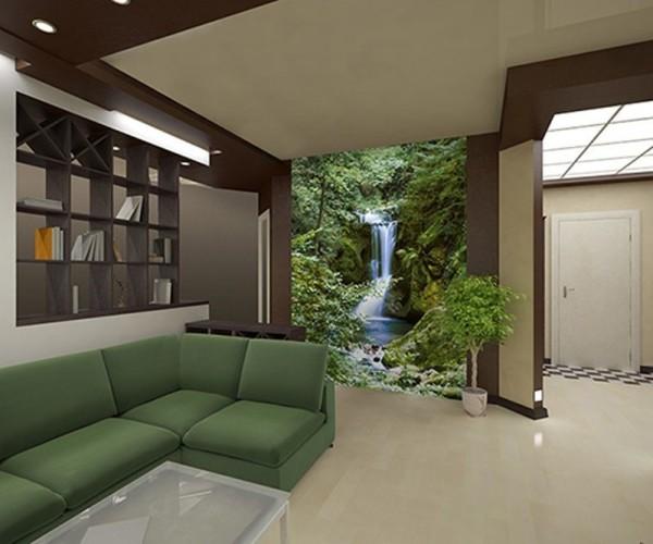 Фотообои в гостиной, которые хорошо видны с дивана