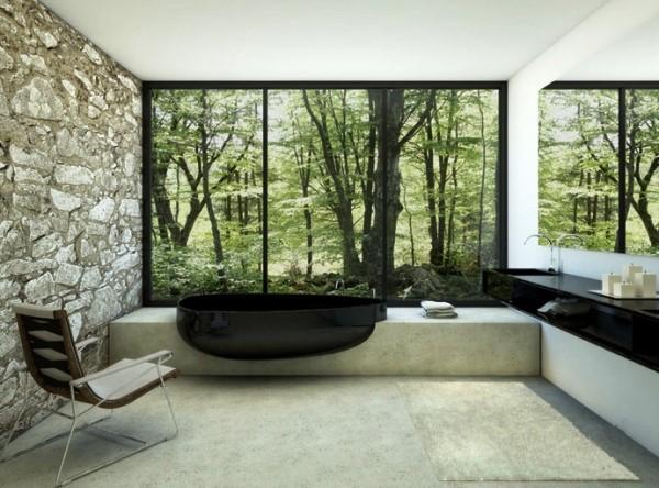 Фотообои в ванной комнате, в виде большого окна