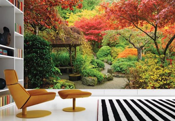 Фотообои «Японский сад» в интерьере гостиной