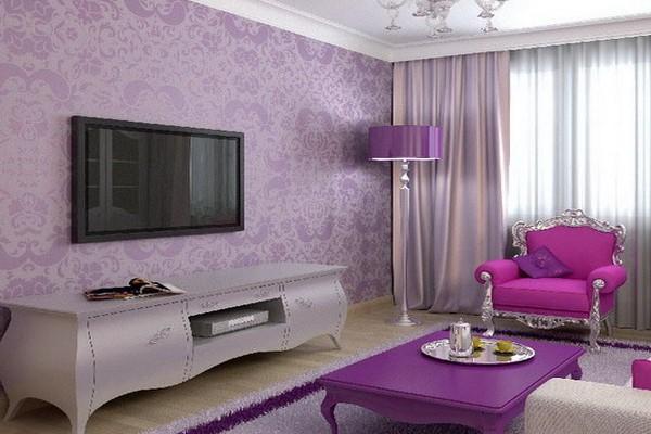 Гостиная в фиолетовых оттенках