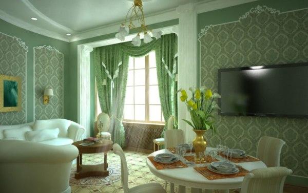 Гостиная в зелёно-белых тонах