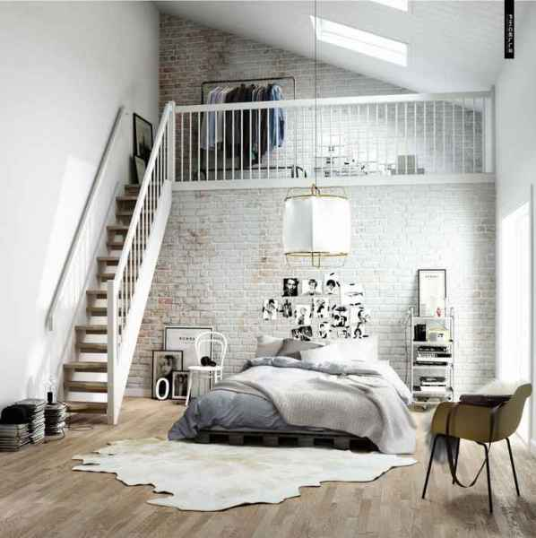 Холостяцкая спальня в серо-коричневых тонах
