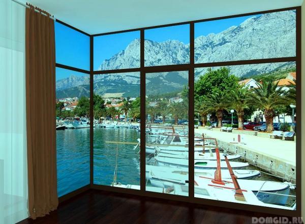 Имитация панорамного окна с видом на причал