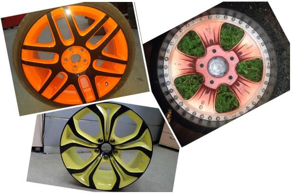 Колёсные диски, окрашенные порошковыми полимерами