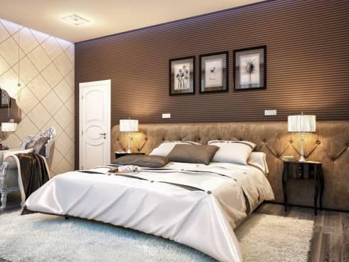 Комбинированные обои в интерьере коричнево-кремовой спальни