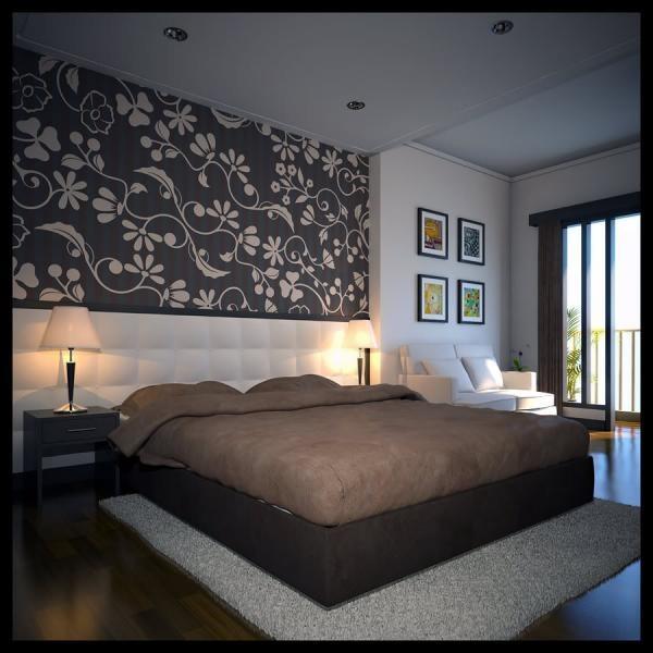 Комбинированные обои в интерьере спальни, сделан акцент на кровать