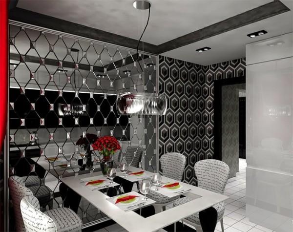 Кухня в стиле арт-деко с черно белыми обоями и зеркальной вставкой, а также дополнена ярко-красными акцентами