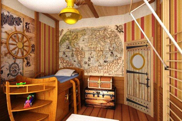 Мировая карта в морском интерьере детской комнаты