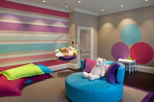 Многоцветное окрашивание в дизайне стен детской