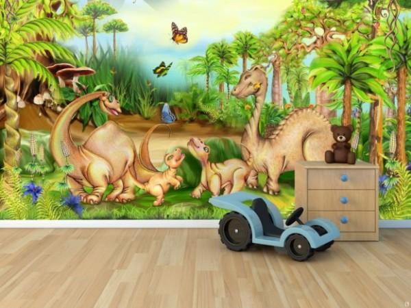 Мультяшные динозавры в интерьере детской комнаты