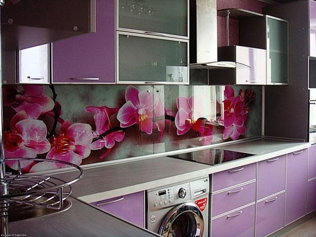 кухня сиреневого цвета фото подобрать обои