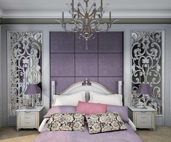 На фото классическая спальня в сиренево-белом цвете