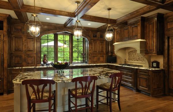 На фото, кухня в готическом стиле