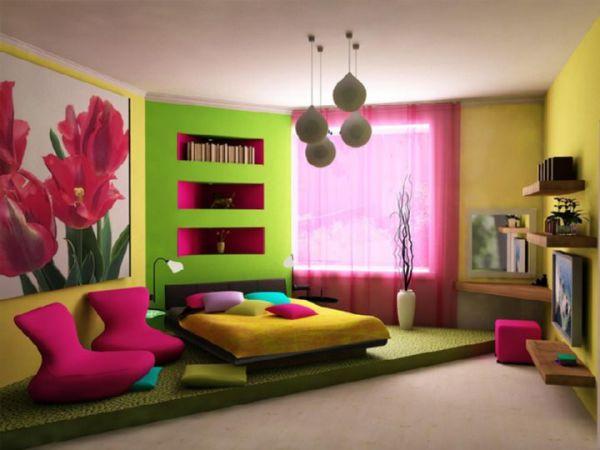 На фото, яркая спальня для молодой девушки