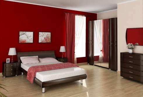 На фото, ярко-красная спальня с добавлением чёрного цвета и белыми акцентами