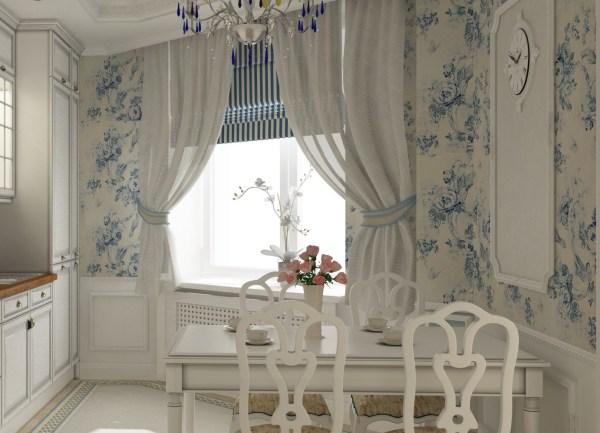 Обои с нежными голубыми цветами на белой кухне в стиле прованс