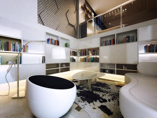 Подростковая спальня в стиле хай-тек в белоснежных тонах