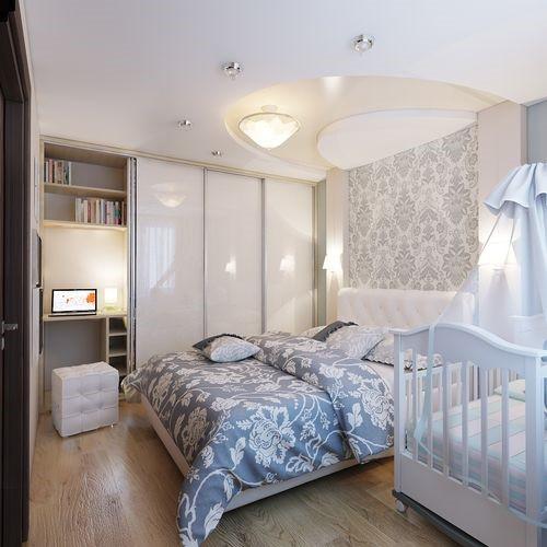Родительская спальня с детской кроваткой и скрытой рабочей зоной