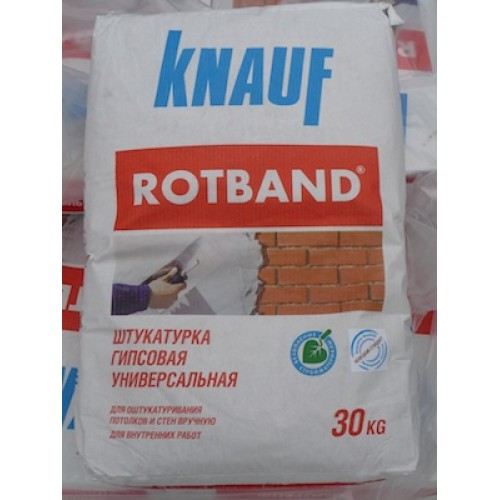 Rotband Knauf гипсовая штукатурка – 30кг при слое 10 мм хватает на 3,5 м2