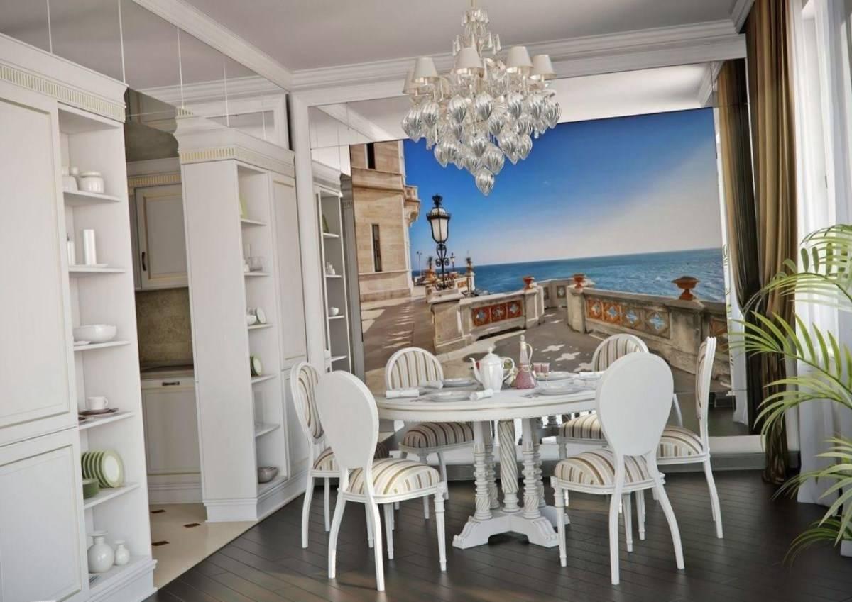 Идеи интерьера кухни с фотообоями