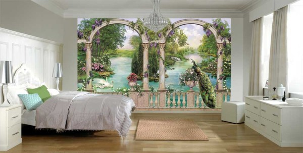 Сад в спальне, фотообои на стене