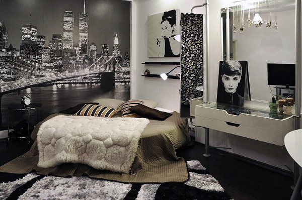 Сочетания серого, белого и чёрного в интерьере спальни подростка