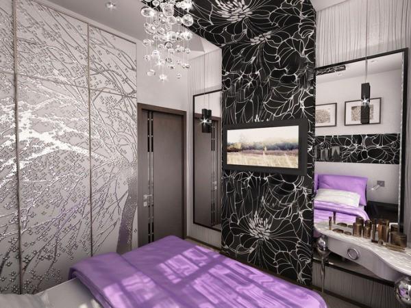 Спальня для девушки в серых тонах с чёрными и сиреневыми вставками