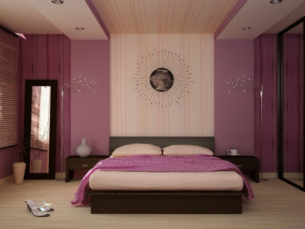 Спальня в бежево-сиреневых тонах по правилам фен-шуй