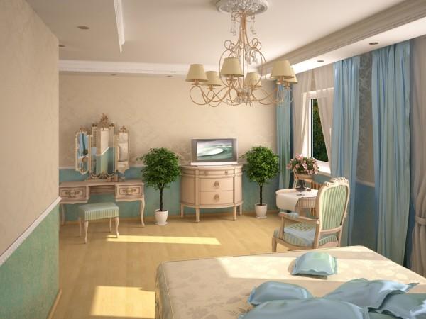 Спальня в нежных тонах комбинированная, горизонтальным делением