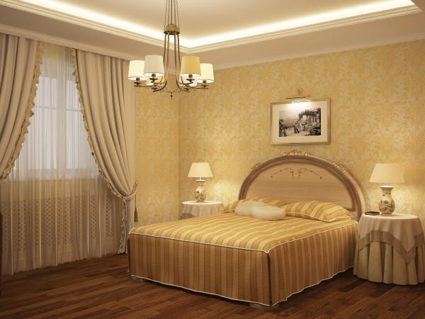 Спальня в жёлто-кремовых тонах
