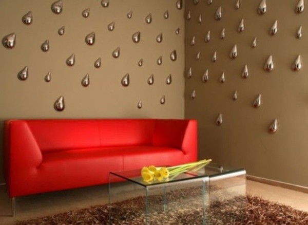 Светодиодные 3д обои в интерьере гостиной