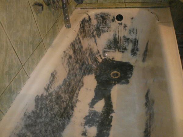 Ванна после зачистки шлифовальной машиной